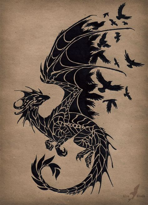 dragon tattoo design black design by alvia alcedo