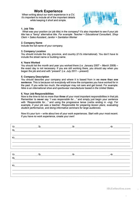 Resume Writing Activity esl resume writing worksheets pictures inspiration