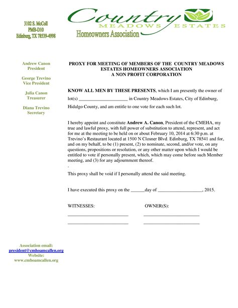 hoa meeting proxy letter country meadows estates