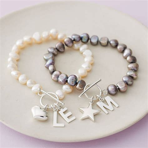 freshwater pearl initial bracelet by highland angel   notonthehighstreet.com