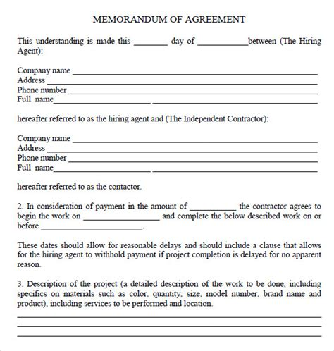 template of memorandum of agreement memorandum of agreement 7 free sles exles format