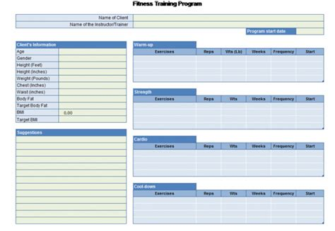 free personal health record template five health and fitness templates you need to check out