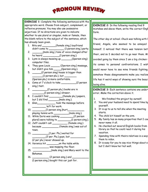 Reflexive And Intensive Pronouns Worksheet by 20 Free Reflexive Pronouns Worksheets