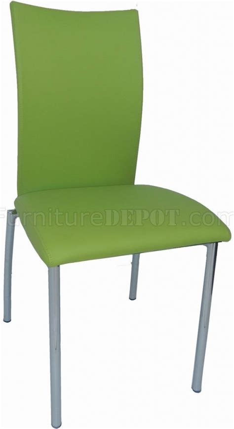 Modern Green Dining Chairs Green Bonded Leather Set Of 4 Modern Dining Chairs