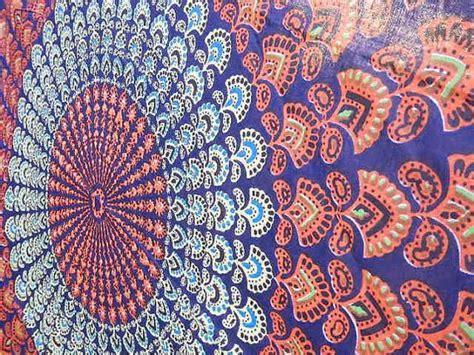 yellow hippie pattern boho hippie tapestry fabric lotus elephant ganesh tie