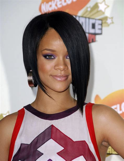 recent tv ads featuring asymmetrical female hairstyles rihanna asymmetrical bob hairstyle