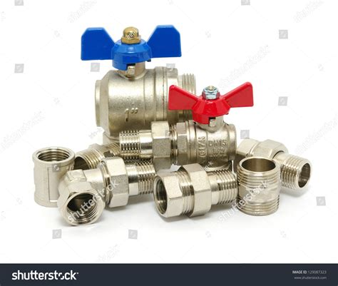 Stock Plumbing by Plumbing Fixtures And Piping Parts Stock Photo 129087323