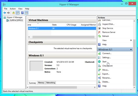 hyper v management console how to create and run machines with hyper v