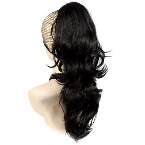 claw hair hairstyles dark brown ponytail extension medium length curly claw