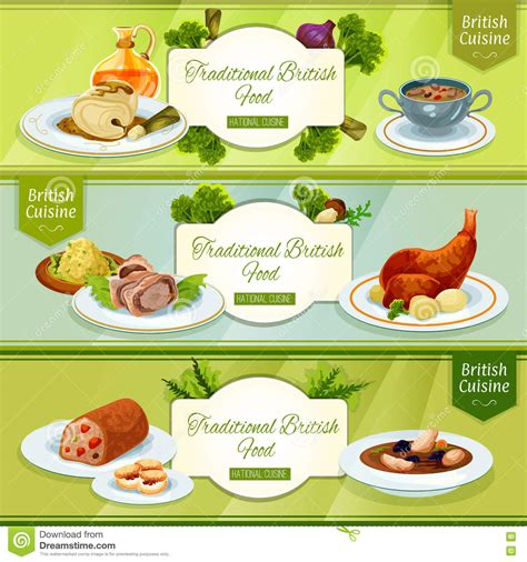 design banner menu british cuisine banner for restaurant menu design stock