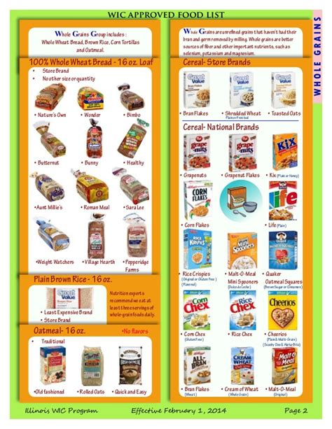 whole grains on wic wic approved food list