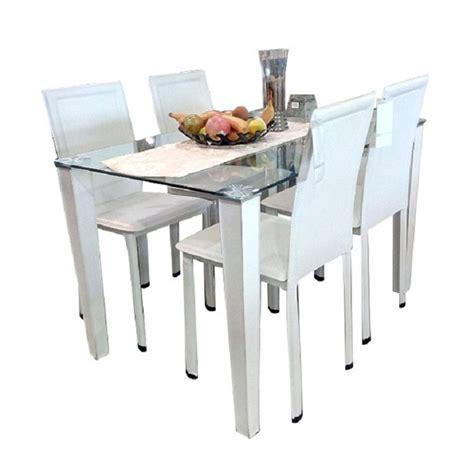Meja Makan Tempered Glass jual atria uranus dining set meja makan putih