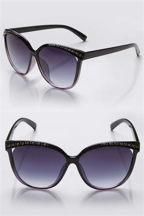 Sunglasses C740 Black black diamante cat eye sunglasses with uv protection