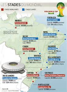 la carte des stades 2014 br 233 sil coupe du monde football