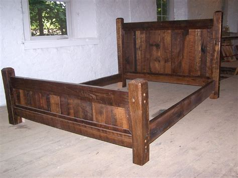 bed with posts buy crafted reclaimed antique oak wood size rustic bed frame with beveled posts made