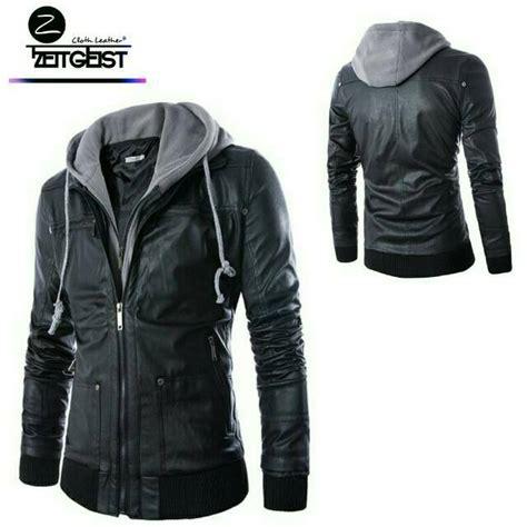 Jaket Kulit Pria Shopee jaket pria zeitgeist leather hoodie jaket kulit sintetis
