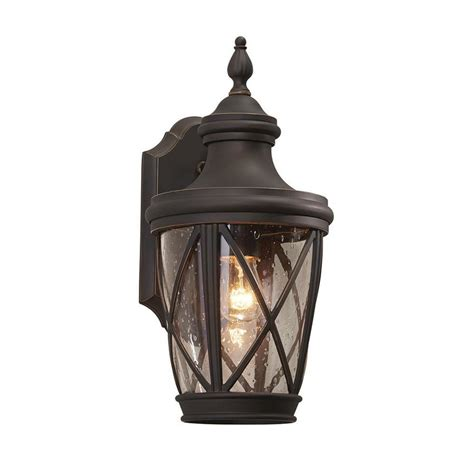 Shop Allen Roth Castine 14 41 In H Rubbed Bronze Medium Outdoor Lighting Lanterns