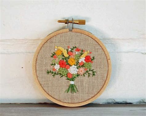 Wedding Bouquet Embroidery by Summer Wedding Bouquet Bridal Embroidery Custom Gift For