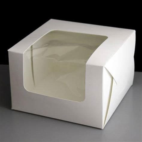 10 Inch Square Cake Box - 50 folding window cake boxes 6 x 6 x 4