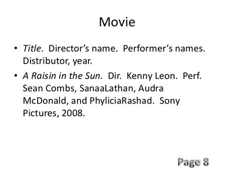 film mla 8 mla citation movie