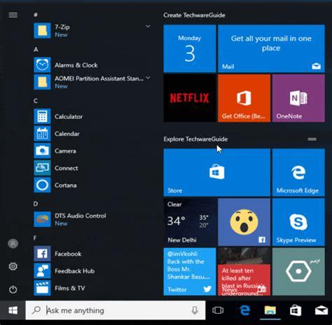 windows 10 live tile tutorial add live tiles in folder windows 10 start menu techwareguide