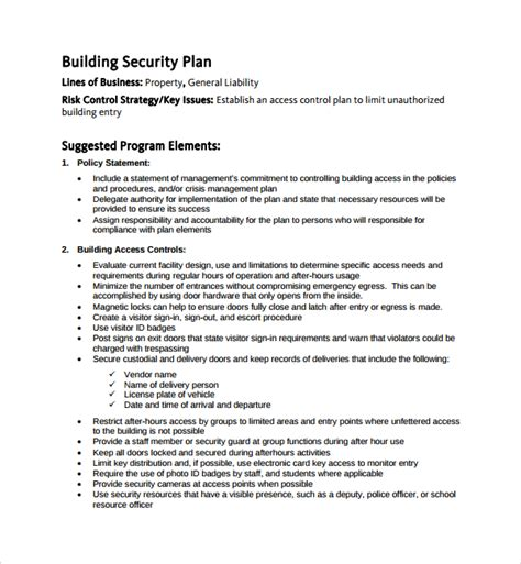Security Plan Template sle security plan template 10 free documents in pdf