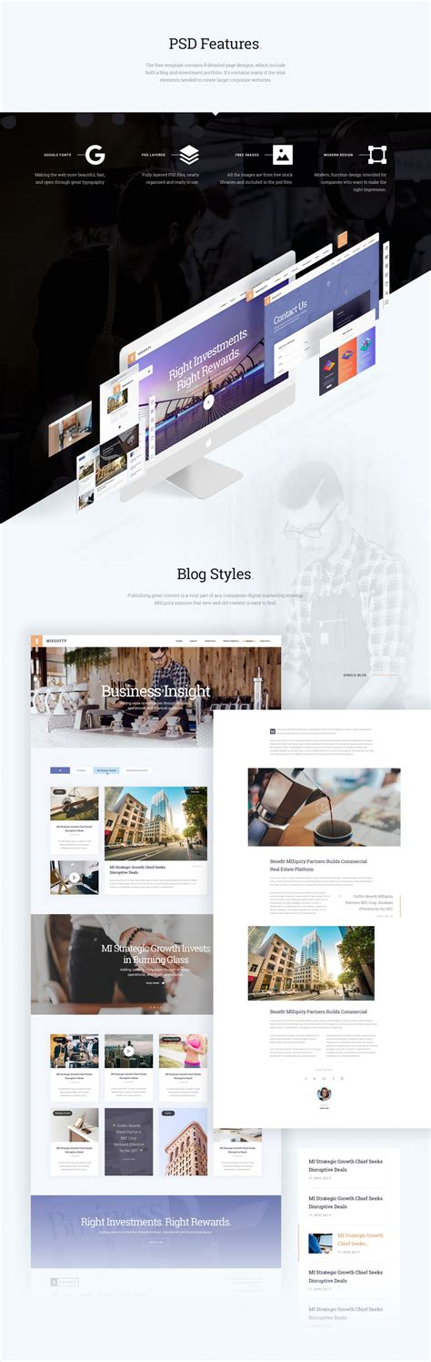 Miequity Web Template 8 Business Pages Free Psd Freebiesui Website Presentation Psd