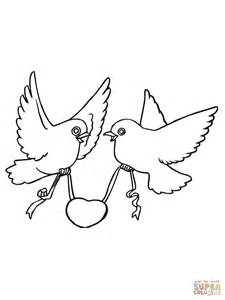 love birds with hearts coloring page free printable