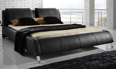 lit design cuir noir leonardo 180x200 cm