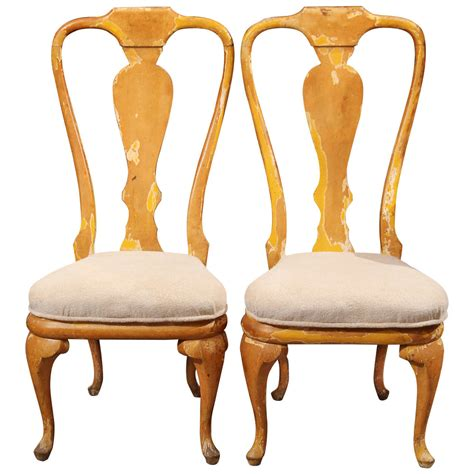 curvy painted wood side or dining chairs for sale at 1stdibs