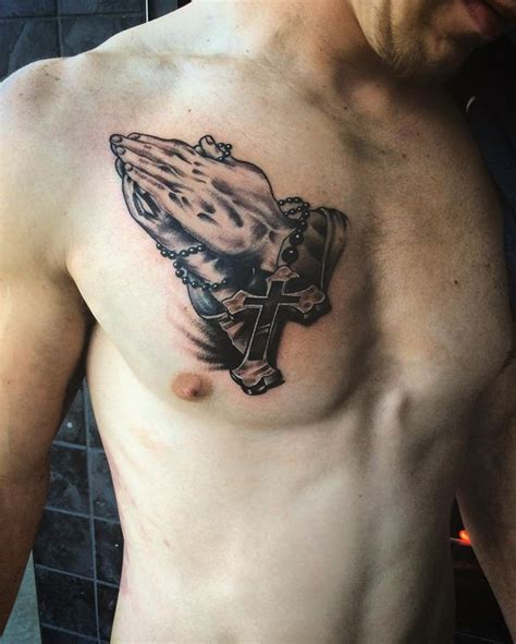 Praying Hands Tattoo With Meaning Jesus Hand Tattoo With Chest Cross Tattoos 2