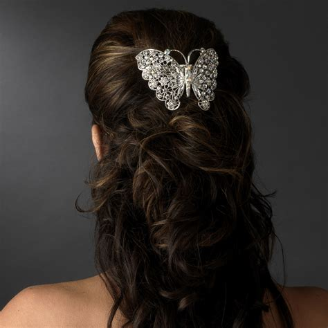 hair desings with plated hair silver plated butterfly barrette elegant bridal hair
