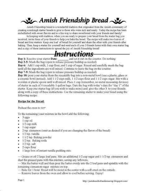 printable directions for amish friendship bread just a bunch of random scrap amish friendship bread