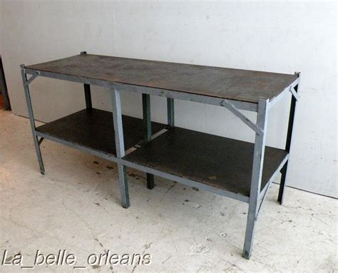 vintage industrial steel work table kitchen l k for
