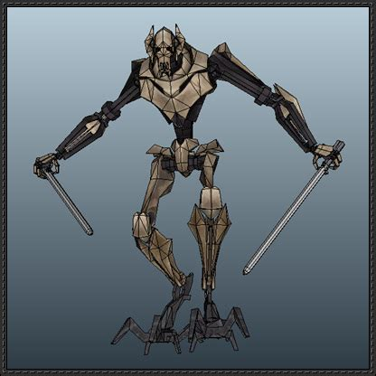 3d Origami Cyborg wars general grievous free papercraft