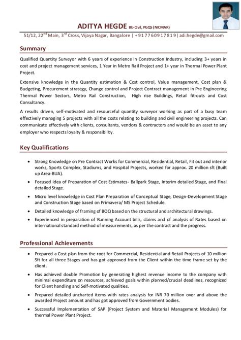 Work Experience Letter For Quantity Surveyor Aditya Hegde Qs Cover Letter With Resume