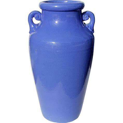 Blue Floor Vases by Large Vintage Blue Handled Pottery Floor Vase Circa 1950