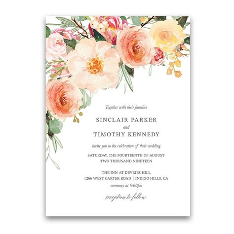 wedding invitation card template blush wedding detail insert cards coral floral greenery