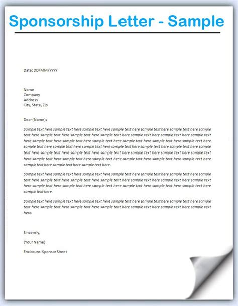 Letter Sponsorship Doc 728546 How To Write A Letter Requesting Sponsorship With Sle Letters Bizdoska