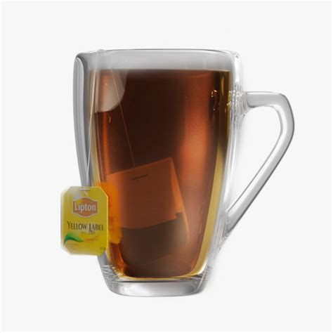 Lipton Glass Cup Mug Tea Coffee Gelas Kopi Teh Bening Cantik Unik lipton glass 3d model