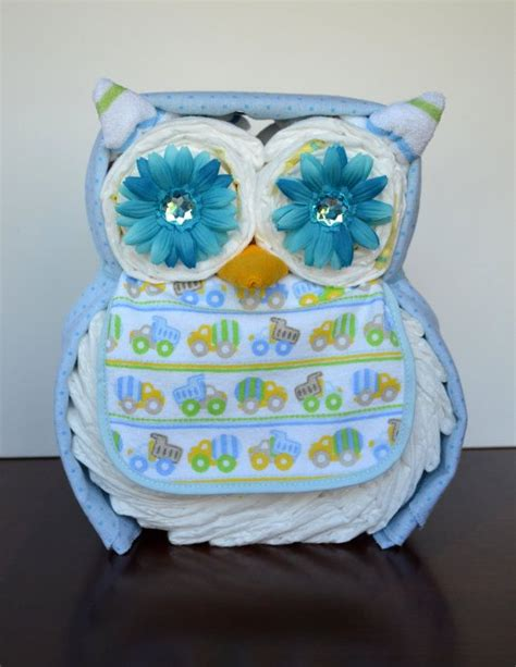 Boy Girl or Neutral Owl Diaper Cake Baby by PolkaDotsandZigZags   Diaper shower ideas