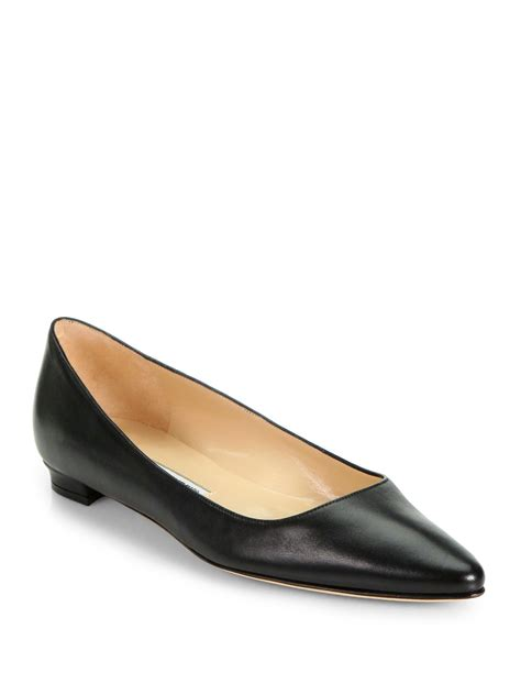 manolo flat shoes manolo blahnik titto leather ballet flats in black lyst