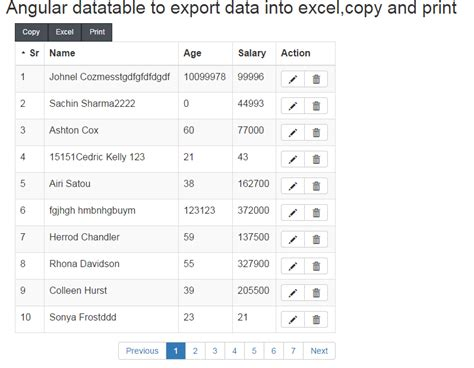 js export pattern angular datatable to export data into excel csv pdf