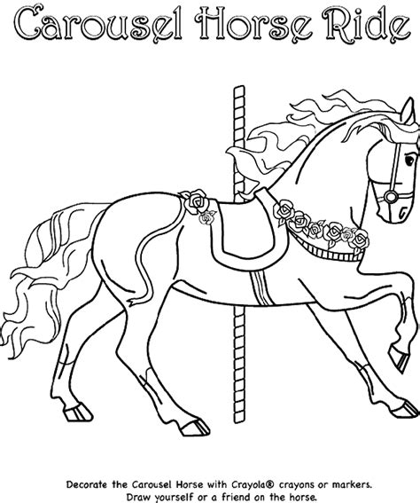 pony ride coloring pages carousel horse ride crayola co uk