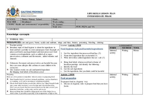 exles of lesson plan templates lesson plan template south africa skills lesson plan