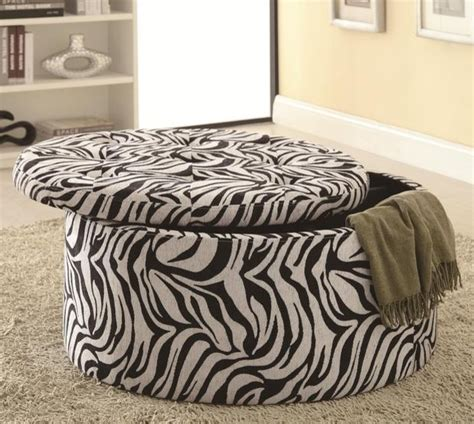 round zebra ottoman zebra fabric round storage ottoman coffee table modern