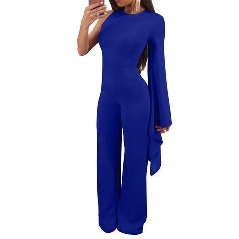 one side cold shoulder dolman flare sleeve jumpsuit