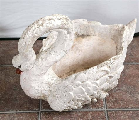 Large Swan Planter by Pair Of Large Garden Swan Planters For Sale At 1stdibs