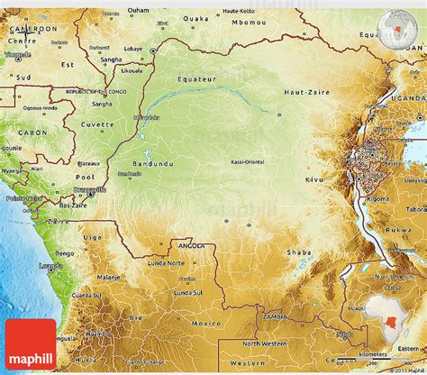 physical map of republic physical 3d map of democratic republic of the congo