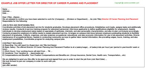 Offer Letter Director Director Of Career Planning And Placement Offer Letter